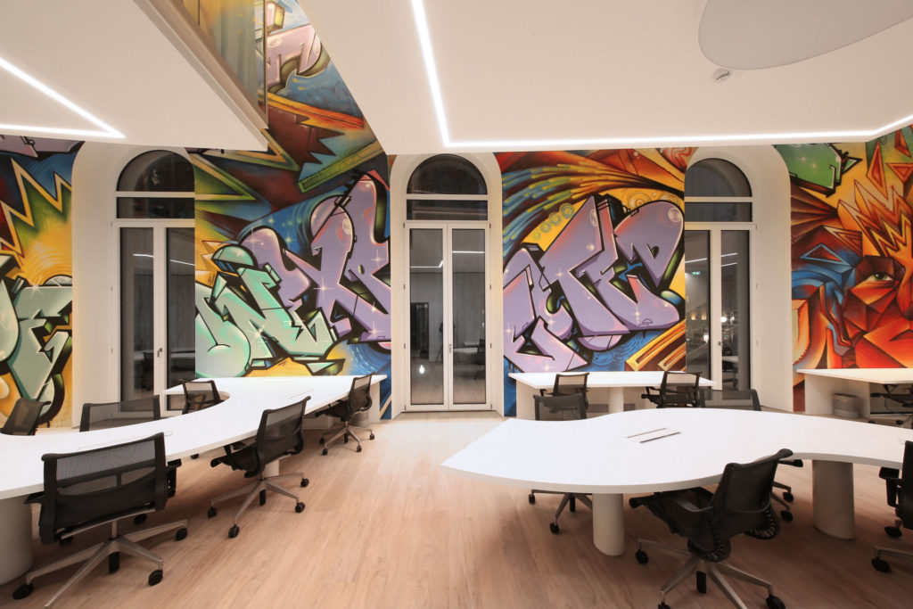 Mural art and graffiti workplace and office decoration for Digital print mural